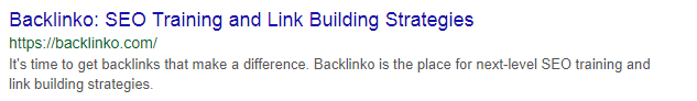 Backlinko Meta Description Example