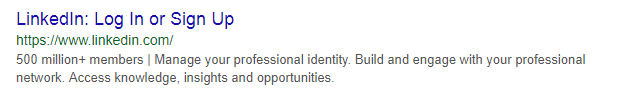 LinkedIn Meta Description Example