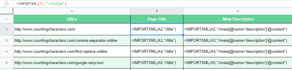 Extract Meta Tags Using Google Sheets