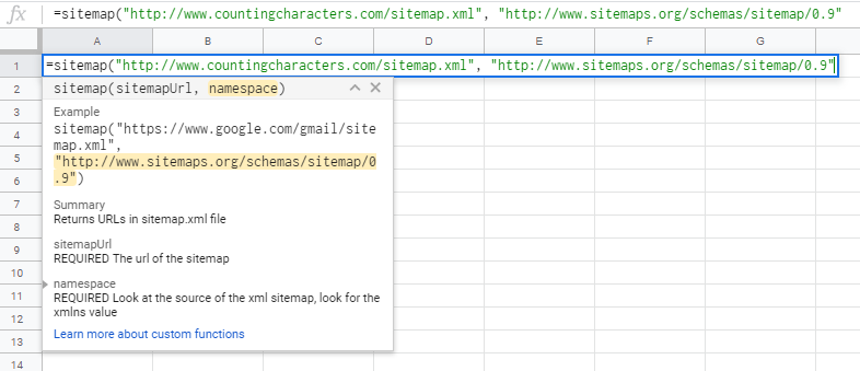 Google Sheet Formula to Extract Sitemap URLs