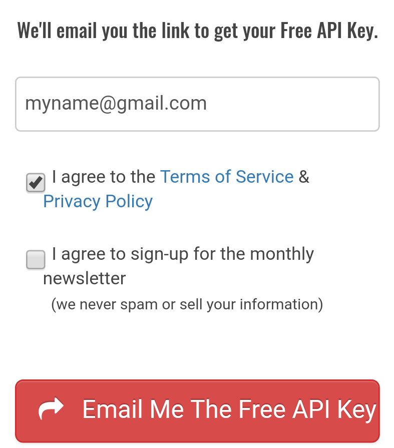 enter email id for api key