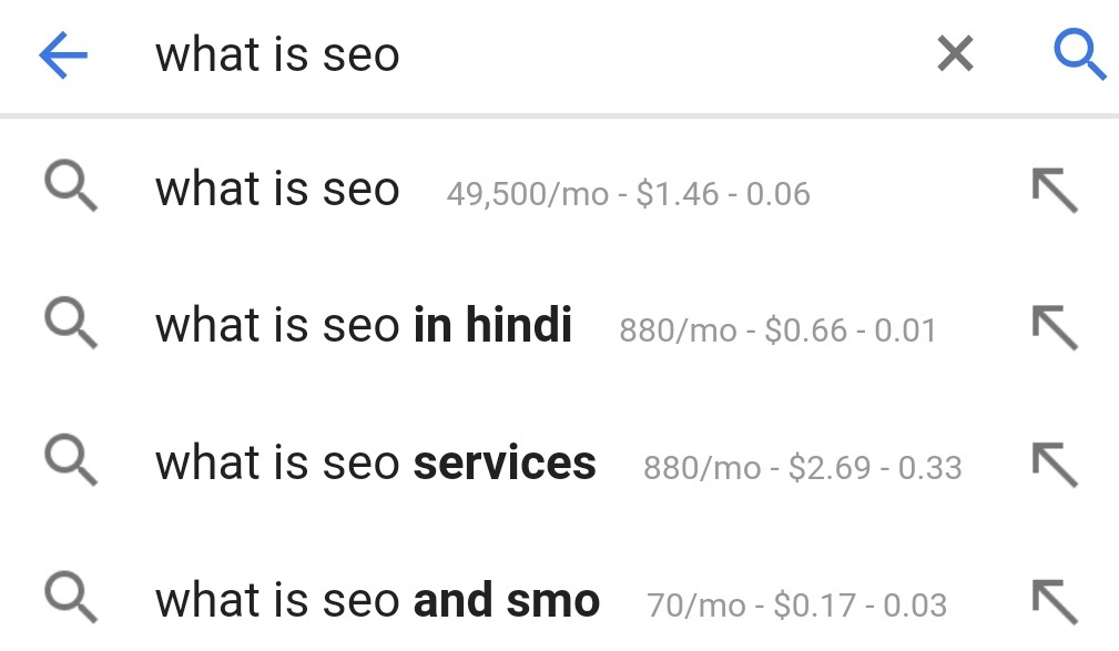 suggested queries with search volume